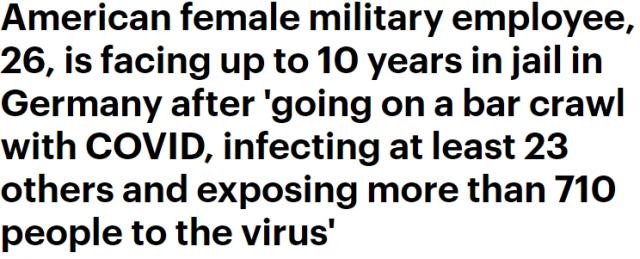 26岁美女带着病毒狂献香吻 感染23人 恐致美军高层爆发 或坐牢10年!