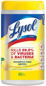 Lysol 罐装消毒湿巾柠檬和酸橙花香型80片