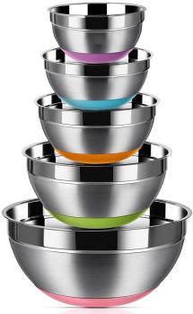 Regille不锈钢彩色硅胶防滑底厨房搅拌盆5件套