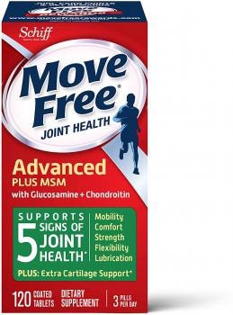 Schiff Move Free氨基葡萄糖维骨力氨糖软骨素关节灵 绿盒添加有机硫维骨力120粒