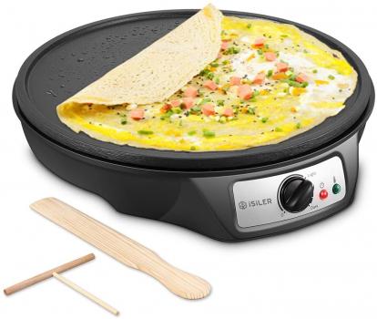 iSiLER 12英寸不粘电煎饼炉 含木制煎饼刮板