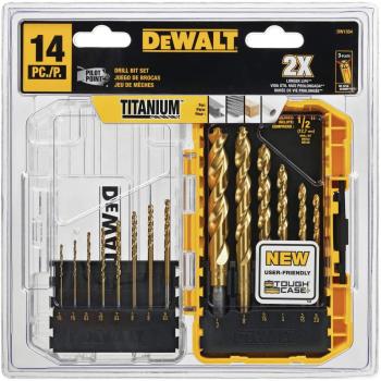 DEWALT得伟DW1354 Titanium Drill Bit Set 镀钛钻头14件套装