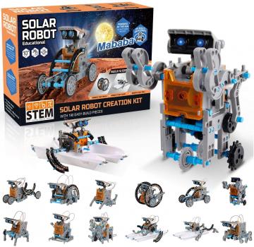 mababa 12合1太阳能驱动机器人玩具,原价$19.98,现售$10.99